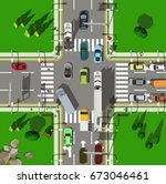 Top View Busy City Intersection