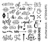 hand drawn ampersands and...   Shutterstock .eps vector #673046491