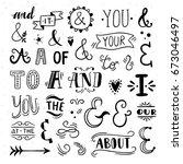 vector set of lettering ...   Shutterstock .eps vector #673046497