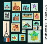 france travel stamps.stamps... | Shutterstock .eps vector #673052671
