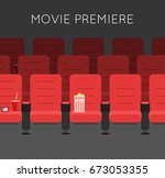 cinema hall red cinema chairs... | Shutterstock . vector #673053355