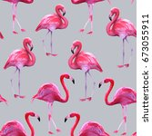 Background Of Pink Flamingos....