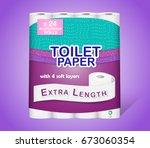 white toilet paper pack design... | Shutterstock .eps vector #673060354