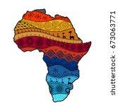 textured vector map of africa.... | Shutterstock .eps vector #673063771