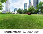 shanghai lujiazui center green... | Shutterstock . vector #673064659
