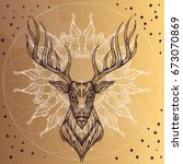 deer head with decorative... | Shutterstock .eps vector #673070869