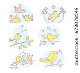 birds sit on a branch  fly ... | Shutterstock .eps vector #673078549