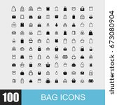 simple set of bag related... | Shutterstock .eps vector #673080904