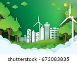 eco green city.save the world... | Shutterstock .eps vector #673083835