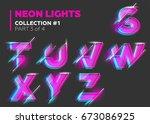 vector neon character typeset.... | Shutterstock .eps vector #673086925