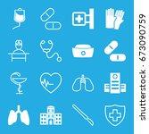 hospital icons set. set of 16... | Shutterstock .eps vector #673090759