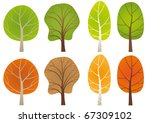 set of  leafy trees in a summer ... | Shutterstock .eps vector #67309102
