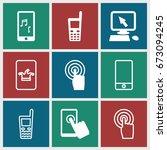 touchscreen icons set. set of 9 ... | Shutterstock .eps vector #673094245