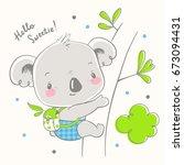 cute koala cartoon hand drawn... | Shutterstock .eps vector #673094431