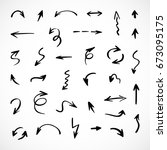 hand drawn arrows  vector set | Shutterstock .eps vector #673095175
