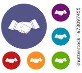 handshake icons set in flat... | Shutterstock .eps vector #673097455