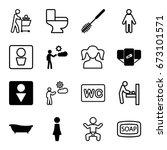 toilet icons set. set of 16... | Shutterstock .eps vector #673101571