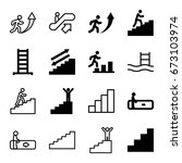 staircase icons set. set of 16... | Shutterstock .eps vector #673103974