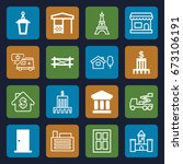 architecture icons set. set of... | Shutterstock .eps vector #673106191