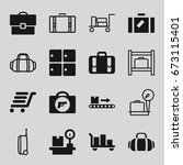 baggage icons set. set of 16... | Shutterstock .eps vector #673115401