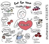 good food for heart concept... | Shutterstock .eps vector #673115971