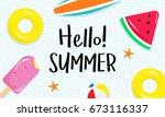 hello  summer banner vector... | Shutterstock .eps vector #673116337