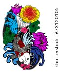 beautiful line art koi carp... | Shutterstock .eps vector #673120105