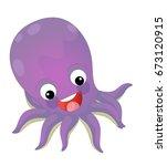 cartoon happy and funny sea... | Shutterstock . vector #673120915