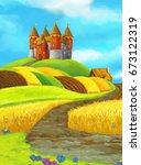 cartoon happy farm scene with... | Shutterstock . vector #673122319
