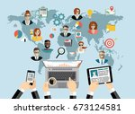 global social network abstract... | Shutterstock .eps vector #673124581