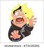 digital vector funny cartoon... | Shutterstock .eps vector #673130281