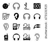 listen icons set. set of 16... | Shutterstock .eps vector #673131925