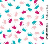 colorful crown seamless pattern.... | Shutterstock .eps vector #673138411