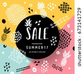 flat hand drawn abstract sale... | Shutterstock .eps vector #673141729