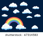 Assorted Fluffy Clouds and Rainbow - stock vector