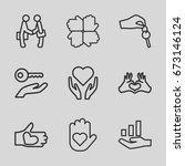 hands icons set. set of 9 hands ... | Shutterstock .eps vector #673146124