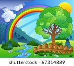 landscape with rainbow and tree ... | Shutterstock .eps vector #67314889