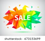 vector sale faceted 3d banner ... | Shutterstock .eps vector #673153699