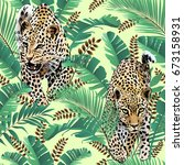 cheetah and leopards palm... | Shutterstock .eps vector #673158931