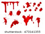 collection of dripping red... | Shutterstock . vector #673161355