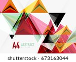 triangular low poly vector a4... | Shutterstock .eps vector #673163044