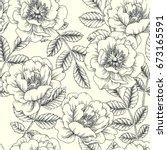 vintage botanical seamless...   Shutterstock .eps vector #673165591