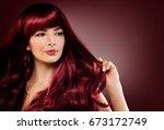 fashion portrait of beautiful...   Shutterstock . vector #673172749
