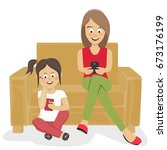 teenagers girls or sisters... | Shutterstock .eps vector #673176199