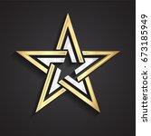 3d beautiful shape silver gold... | Shutterstock .eps vector #673185949