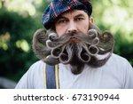 close up portrait of a brave...   Shutterstock . vector #673190944