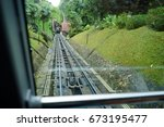 view of a tram tracks at penang ... | Shutterstock . vector #673195477