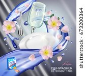 rose fragrance dishwasher...   Shutterstock .eps vector #673200364