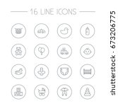 set of 16 baby outline icons