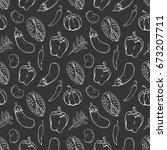 hand drawn fresh vegetables... | Shutterstock .eps vector #673207711